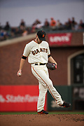 San Francisco Giants starting pitcher Chris Stratton (34) pitches against the Milwaukee Brewers at AT&T Park in San Francisco, California, on August 21, 2017. (Stan Olszewski/Special to S.F. Examiner)