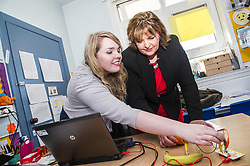 Pictured: Ms Hyslop was shown by Carla Hay, Youth Project Intative projects assistant how a circuit could include fruit<br /> <br /> Culture Secretary Fiona Hyslop MSP unveiled cash awards for Youth Music Initiative schemes which will help young people learn about and enjoy music. Ms Hyslop made the announcement when she joined schoolchildren at Longstone Primary School, Edinburgh today.<br /> <br /> <br /> Ger Harley | EEm 8 March 2018