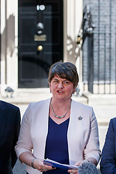 © Licensed to London News Pictures. 26/06/2017. London, UK. The DUP leader ARLENE FOSTER makes a statement after meeting with Prime Minister Theresa May in Downing Street and reaching a final deal to form a propped up minority government with Conservatives on Monday, 26 June 2017. Photo credit: Tolga Akmen/LNP