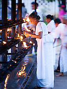Elderly woman praying and making an offering at the Temple of the Tooth (Sri Dalada Maligawa), a Buddhist temple. It is believed the temple holds the tooth of Buddha, and whoever hold the tooth rules the land. Kandy, Sri Lanka