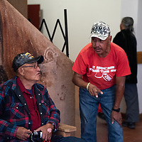 Herbert Touchine Jr., right, cathces up with a fellow veteran at the 7th Annual Veterans Stand Down and Hand-Up Project at Red Rock Park on November 1, 2019.