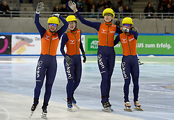 19-01-2014 SHORTTRACK: ISU EUROPEAN CHAMPIONSHIPS: DRESDEN<br /> In het EnergieVerbund Arena wordt het EK Shorttrack gehouden / Nederland Europees Kampioen relay - Sanne van Kerkhof (NED), Lara van Ruijven (NED), Jorien ter Mors (NED),  Yara van Kerkhof (NED)<br /> ©2014-FotoHoogendoorn.nl