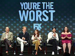 BEVERLY HILLS - AUGUST 9: Executive Producer Stephen Falk and cast members Chris Geere, Aya Cash, Desmin Borges, and Kether Donohue onstage during the panel for 'You're the Worst' at the FX portion of the 2017 Summer TCA press tour at the Beverly Hilton on August 9, 2017 in Beverly Hills, California. (Photo by Frank Micelotta/FX/PictureGroup) *** Please Use Credit from Credit Field ***