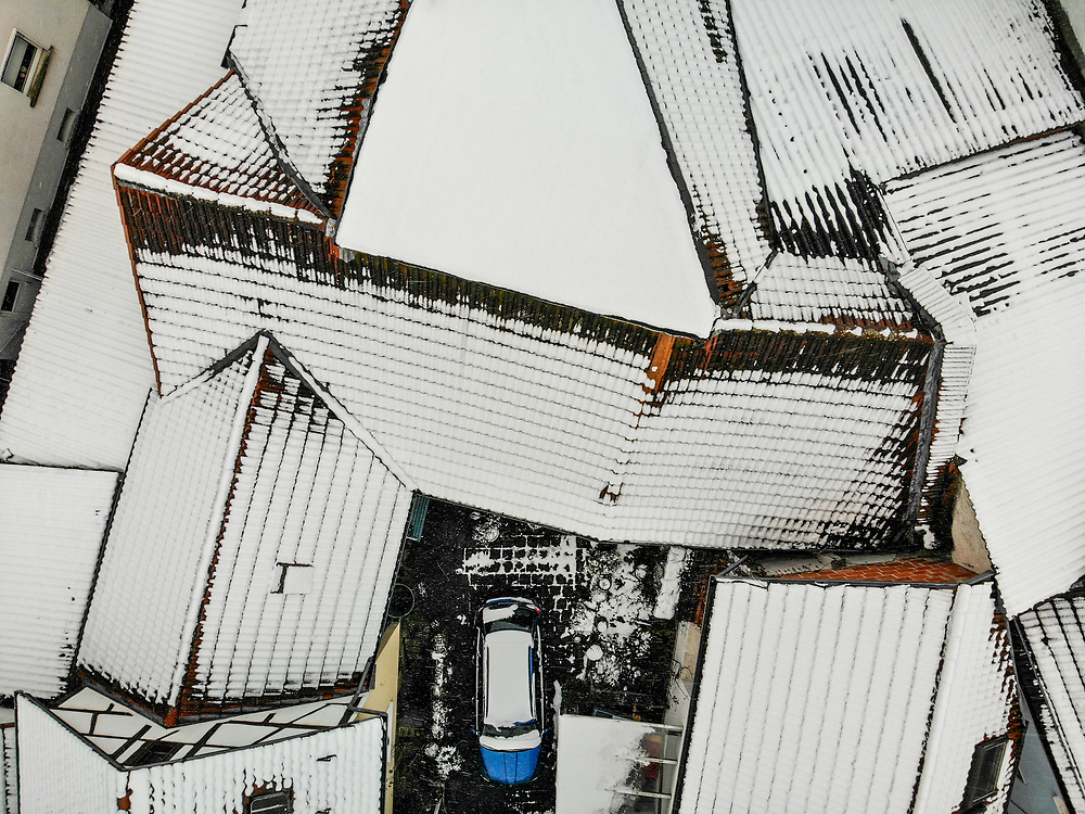 Roofs covered with snow inOberursel/Stierstadt located in Germany close to the Frankfurt area.