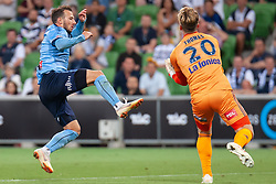 January 26, 2019 - Melbourne, VIC, U.S. - MELBOURNE, AUSTRALIA - JANUARY 26: Sydney FC forward Adam Le Fondre (9) collides with Melbourne Victory goalkeeper Lawrence Thomas (20) at the Hyundai A-League Round 16 soccer match between Melbourne Victory and Sydney FC on January 26, 2019, at AAMI Park in VIC, Australia. (Photo by Speed Media/Icon Sportswire) (Credit Image: © Speed Media/Icon SMI via ZUMA Press)