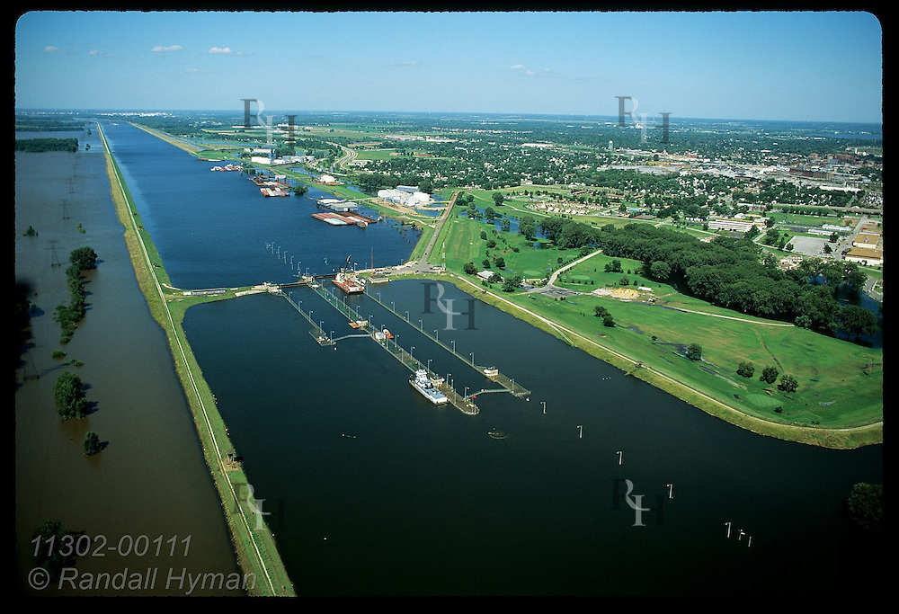 Aerial of canal at Lock & Dam #27, one day after record crest of 8/1/93 on Mississippi; St. Louis Illinois