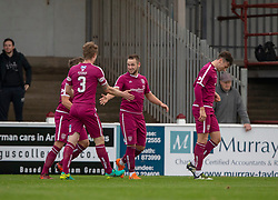Arbroath's Ryan Wallace (9) celebrates after scoring their first goal. Arbroath 3 v 1 Dumbarton, Scottish Football League Division One played 20/10/2018 at Arbroath's home ground, Gayfield Park.