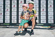 Second place finisher and King of the Mountain prize winner, Kristian Hynek of Team Topeak-Ergon, poses for a photo with his son during prize giving for the 2017 Fairview Attakwas Extreme MTB Challenge. Photo by: Ewald Sadie/Dryland/SPORTZPICS