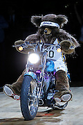 """The Utah Jazz mascot """"Bear"""" enters Energy Solutions Arena on a motorcycle before an NBA basketball game in Salt Lake City, Wednesday Jan. 26, 2011. (AP Photo/Colin E Braley)"""