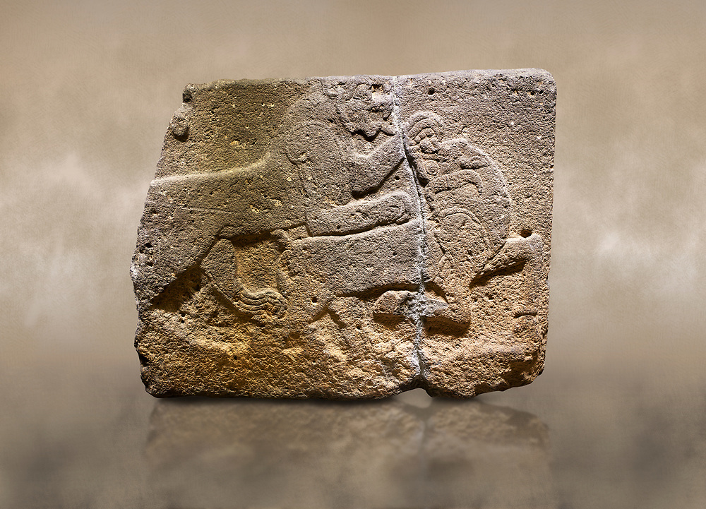 Photo of Hittite monumental relief sculpted orthostat stone panel of a Procession. Basalt, Karkamıs, (Kargamıs), Carchemish (Karkemish), 900-700 B.C. Anatolian Civilisations Museum, Ankara, Turkey. Two animals struggling with each other. The lion attacking the bull holds the bull's chin and turns it backwards.  <br /> <br /> Against a brown art background. .<br />  <br /> If you prefer to buy from our ALAMY STOCK LIBRARY page at https://www.alamy.com/portfolio/paul-williams-funkystock/hittite-art-antiquities.html  - Type  Karkamıs in LOWER SEARCH WITHIN GALLERY box. Refine search by adding background colour, place, museum etc.<br /> <br /> Visit our HITTITE PHOTO COLLECTIONS for more photos to download or buy as wall art prints https://funkystock.photoshelter.com/gallery-collection/The-Hittites-Art-Artefacts-Antiquities-Historic-Sites-Pictures-Images-of/C0000NUBSMhSc3Oo