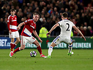 Adam Forshaw of Middlesbrough in action with Billy Jones of Sunderland during the English Premier League match at Riverside Stadium, Middlesbrough. Picture date: April 26th, 2017. Pic credit should read: Jamie Tyerman/Sportimage