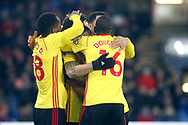 Daryl Janmaat of Watford (in huddle) celebrates with his teammates after scoring his teams first goal. Premier League match, Crystal Palace v Watford at Selhurst Park in London on Tuesday 12th December 2017. pic by Steffan Bowen, Andrew Orchard sports photography.