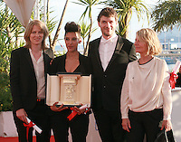 Claire Burger, Marie Amachoukeli and Samuel Theis with Nicole Garcia - winner of Caméra d'or for the film Party Girl at the Palme d'Or winners photo call at the 67th Cannes Film Festival, Saturday 24th May 2014, Cannes, France.