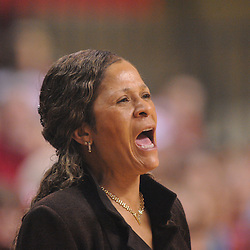 Feb 21, 2009; Piscataway, NJ, USA; Rutgers head coach C. Vivian Stringer yells to her players during the second half of Rutgers' 55-42 victory over Providence at the Louis Brown Athletic Center.