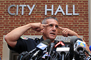 Charlottesville Chief of Police Tim Longo asks the public to come forward with any information to help find missing U.Va. student Hannah Elizabeth Graham during a press conference Friday afternoon in Charlottesville, Va. Graham was last seen early Saturday morning Sept. 13, 2014.  Photo/The Daily Progress/Andrew Shurtleff