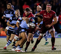 Willis Halaholo of Cardiff Blues breaks free<br /> <br /> Photographer Simon King/Replay Images<br /> <br /> Guinness PRO14 Round 4 - Cardiff Blues v Munster - Friday 21st September 2018 - Cardiff Arms Park - Cardiff<br /> <br /> World Copyright © Replay Images . All rights reserved. info@replayimages.co.uk - http://replayimages.co.uk