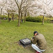 NLD/Amstelveen/20200318 - Bloesempark Amstelveen, Japanse toerist fotografeert het Tsunamimonument