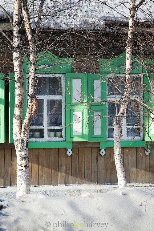 Local architecture, Listvyanka, Port Baykal on the shores of Lake Baikal, Siberia, Russia