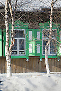 Local architecture, Listvyanka, Port Baykal on the shores of Lake Baikal, Siberia, Russia