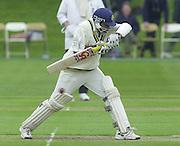 Shenley, Middlsex. ENGLAND, Sri Lanka Tour match.<br /> Photo Peter Spurrier<br /> 11/05/2002<br /> Sport - Cricket - Middlesex vs Sri Lanka -Shenley:<br /> Jayawardene, moves his bat out of the way of the ball.                             [Mandatory Credit:Peter SPURRIER/Intersport Images]