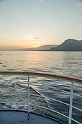 Isabella island as seen from the stern of a cruise ship, Galapagos , Ecuador, South America