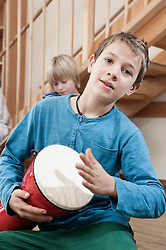 Portrait of drumming boy