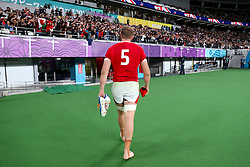 Wales' Alun Wyn Jones leaves the pitch dejected during the 2019 Rugby World Cup bronze final match at Tokyo Stadium.