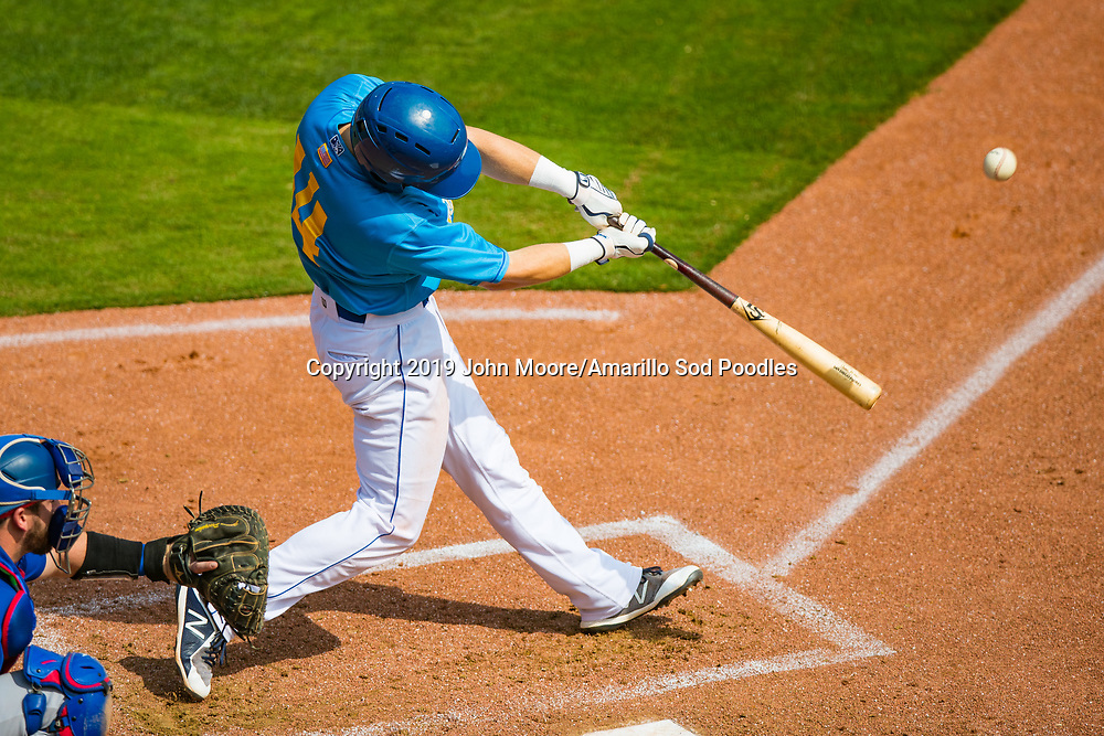 Amarillo Sod Poodles infielder Owen Miller (14) hits the ball against the Tulsa Drillers on Wednesday, Aug. 28, 2019, at HODGETOWN in Amarillo, Texas. [Photo by John Moore/Amarillo Sod Poodles]