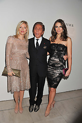 Left to right, CROWN PRINCESS MARIE-CHANTAL OF GREECE, fashion designer VALENTINO and ELIZABETH HURLEY at a private view of 'Valentino: Master Of Couture' at Somerset House, London on 28th November 2012.