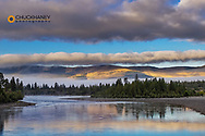 Clearing storm clouds over the Flathead River in Lake County, Montana, USA