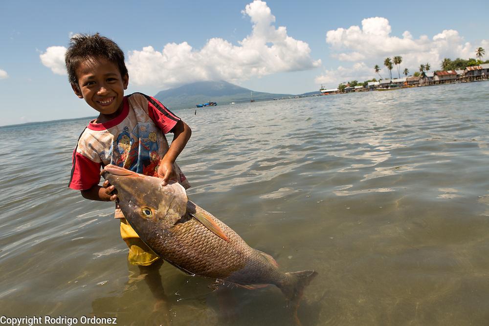 Siti Rofi'ah's step grandson Mohamad, 6, helps bring fish ashore in Lewoleba, Nubatukan subdistrict, Lembata district, East Nusa Tenggara province, Indonesia.