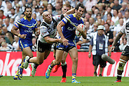 Wolves Stefan Ratchford tries to break awayfrom the Hull defence during the Challenge Cup Final 2016 match between Warrington Wolves and Hull FC at Wembley Stadium, London, England on 27 August 2016. Photo by Craig Galloway.