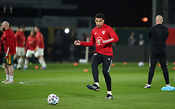 LEUVEN, BELGIUM - Wednesday, March 24, 2021: Wales' Ben Cabango during the pre-match warm-up before the FIFA World Cup Qatar 2022 European Qualifying Group E game between Belgium and Wales at the King Power Den dreef Stadium. Belgium won 3-1. (Pic by Vincent Van Doornick/Isosport/Propaganda)