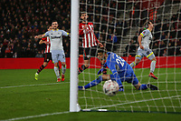 Football - 2018 / 2019 FA Cup - Third Round Replay: Southampton vs. Derby County<br /> <br /> Craig Bryson of Derby slots the ball past Southampton's Angus Gunn only for his goal to be disallowed for offside from a VAR decision at St Mary's Stadium Southampton <br /> <br /> COLORSPORT/SHAUN BOGGUST
