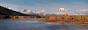 Panoramic view of the Grand Tetons and Mt. Moran from OxBow Bend, Grand Teton National Park, Wyoming