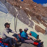 Ski Mountaneers cross Paiute Pass in the John Muir Wilderness, Sierra Nevada, California