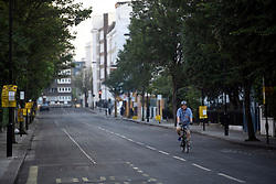 © Licensed to London News Pictures. 27/08/2019. London, UK. An empty and cleaned street in Notting Hill, west London, in the aftermath of the 2019 Notting Hill carnival. The two day event is the second largest street festival in the world after the Rio Carnival in Brazil, attracting over 1 million people to the streets of West London. Photo credit: Ben Cawthra/LNP