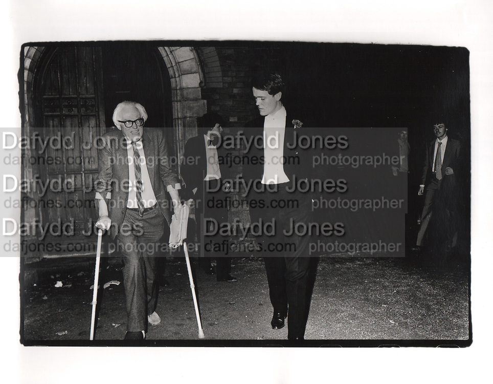 Labour leader Michael Foot and hon Rupert Soames. Oxford Union. 1980