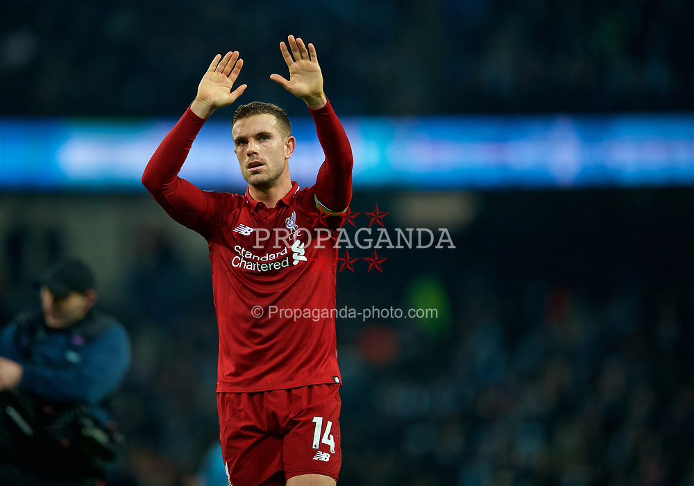 MANCHESTER, ENGLAND - Thursday, January 3, 2019: Liverpool's captain Jordan Henderson applauds the supporters after the 2-1 defeat from Manchester City during the FA Premier League match between Manchester City FC and Liverpool FC at the Etihad Stadium. (Pic by David Rawcliffe/Propaganda)