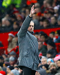 Manchester United manager Jose Mourinho reacts during the Premier League match at Old Trafford, Manchester.