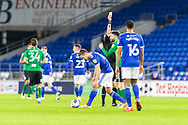 YELLOW CARD Birmingham City's Jon Toral (23) is shown a yellow card by Referee Michael Salisbury during the EFL Sky Bet Championship match between Cardiff City and Birmingham City at the Cardiff City Stadium, Cardiff, Wales on 16 December 2020.