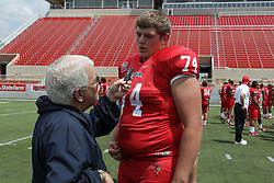 01 August 2017:   John Ridgeway interviewed by Steve Robinson during 2017 Illinois State Redbirds Football Media Day at Hancock Stadium in Normal IL (Photo by Alan Look)
