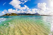 Kailua Beach Park and the Koolau Mountains from Popoia Island (Flat Island), Kailua Bay, Oahu, Hawaii