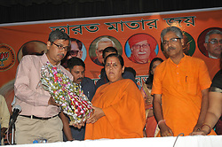 April 14, 2017 - Howrah, India - BJP Worker welcome to Uma Bharti, Union Water Resources Minister at the BJP Howrah District Worker meeting at Howrah Sarat Sadan on April 14,2017 in Howrah,India. (Credit Image: © Debajyoti Chakraborty/NurPhoto via ZUMA Press)