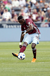 April 29, 2018 - Commerce City, Colorado - Colorado Rapids forward Yannick Boli (9) launches a shot in the second half of action in the MLS soccer game between Orlando City SC and the Colorado Rapids at Dick's Sporting Goods Park in Commerce City, Colorado (Credit Image: © Carl Auer via ZUMA Wire)