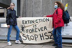Anti-HS2 activists hold a HS2 Chainsaw Massacre protest outside the Among The Trees exhibition at the Hayward Gallery on 30 October 2020 in London, United Kingdom. The protest, during which many activists were dressed as HS2 enforcement agents and workers, was intended to highlight both the daily environmental destruction being wrought for the controversial HS2 high-speed rail project and instances of violence and brutality by security guards and bailiffs working on behalf of HS2 Ltd.