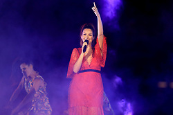 Ricki-Lee Coulter performs on stage during the Closing Ceremony for the 2018 Commonwealth Games at the Carrara Stadium in the Gold Coast, Australia.