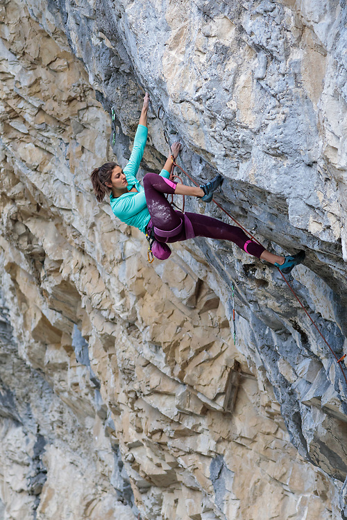 Elise Sethna climbing Fudge Packer, 5.13d at Planet X in Canmore, AB