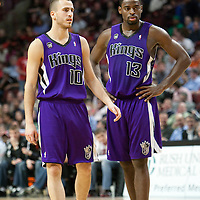 21 December 2009: Sacramento Kings guard Sergio Rodriguez talks to Sacramento Kings guard Tyreke Evans during the Sacramento Kings 102-98 victory over the Chicago Bulls at the United Center, in Chicago, Illinois, USA.