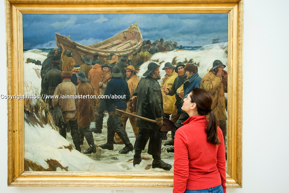 Painting, The Lifeboat is Taken Through the Dune, by Michael Ancher at Statens Museum for Kunst or Royal Museum of Fine Arts in Copenhagen Denmark